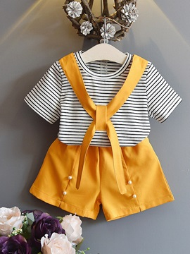 Striped T Shirt Bead Shorts Girls Outfit