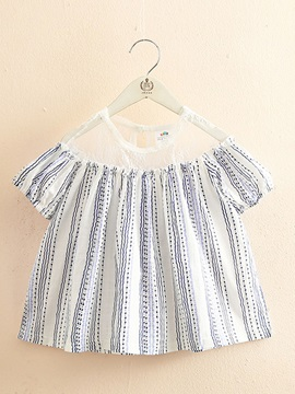 Girls Baby Short Sleeved T Shirt Stitching Doll Shirt