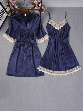 Lace Color Block Robe Nightgown Womens Pajama Set