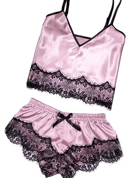 Fashion Color Block Lace Pullover Womens Sleepwear 2 Pieces