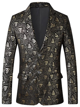 Fashion Print Notched Lapel Mens Blazer