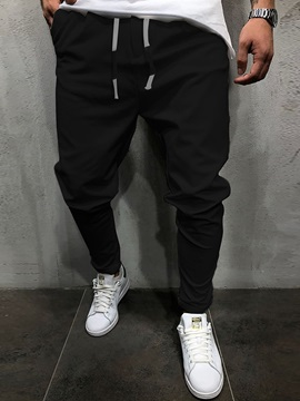 Lace Up Plain Mens Casual Pants