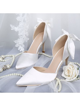 Bow Pointed Toe Slip On Womens Prom Shoes