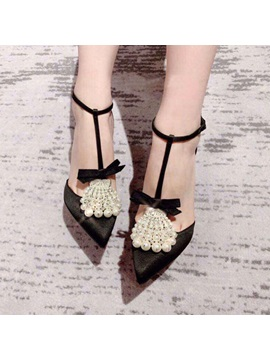 Bow Pointed Toe Buckle Beads Womens Prom Shoes