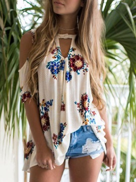 Floral Print Mid Length Loose Womens Blouse