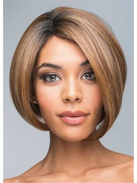 Womens Bob Style Natural Straight Synthetic Hair Wigs Lace Front Cap Wigs 12inch