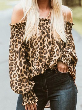 Pleated Leopard Off Shoulder Womens Blouse