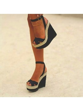 Ankle Strap Wedge Heel Open Toe Hollow Sandals