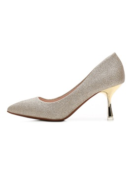 Womens Thin Shoes Pointed Toe Pu Sequin Wedding Shoes