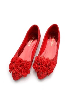 Womens Thin Shoes Flat Heel Flowers Lace Wedding Shoes