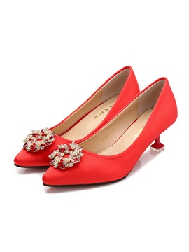 Female Thin Shoes Beads Pu Mid Heel Red Wedding Shoes