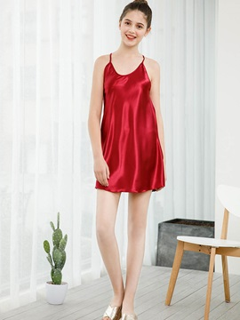 Plain Backless Womens Nightgown