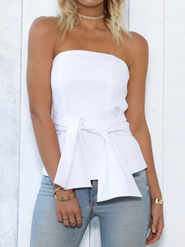 Off Shoulder Lace Up Backless Zipper Womens Tank Top