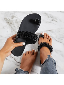 Rhinestone Flat Heel Slip On Womens Slippers