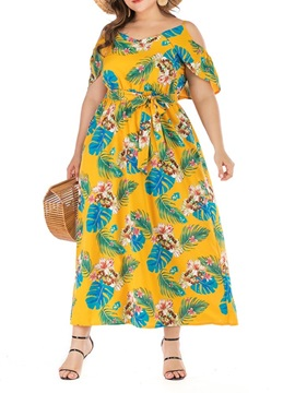 Plus Size V Neck Mid Calf Pullover Floral Womens Dress