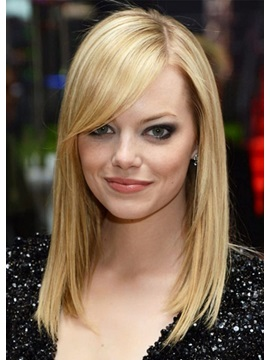 Medium Bob Hairstyles Womens Blonde Straight Human Hair Lace Front Wigs 22inch