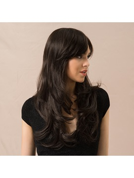 Natural Looking Womens Long Wavy Human Hair Blend Wigs 130 Density Capless Wigs 24inches