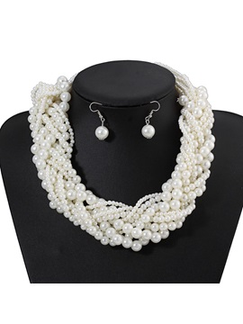 Necklace Pearl Plain Party Jewelry Set