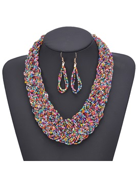 Earrings Woven Bohemian Holiday Jewelry Set