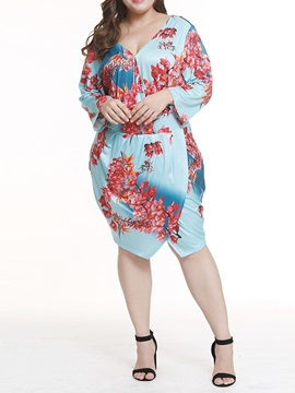 Plus Size Long Sleeve V Neck Print Womens Bodycon Dress