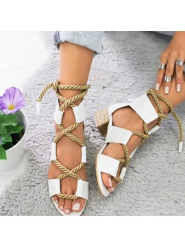 Lace Up Chunky Heel Open Toe Womens Sandals