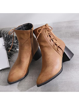 Round Toe Chunky Heel Lace Up Womens Ankle Boots