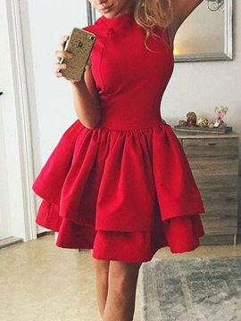 A Line Sleeveless Ruched High Neck Homecoming Dress 2019