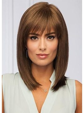 Medium Hairstyles Womens Straight Brown Synthetic Hair Wigs Capless Wigs 14inches