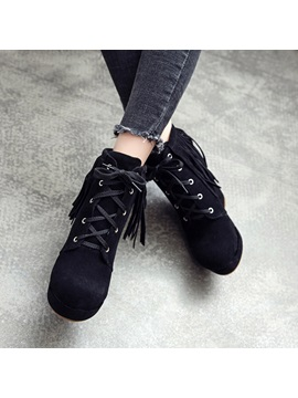 Lace Up Front Plain Round Toe Wedge Ankle Boots