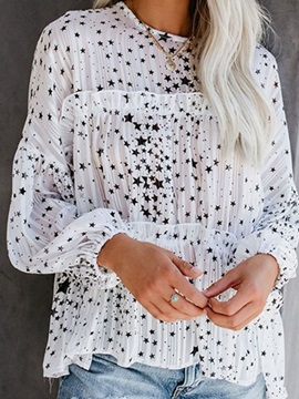Round Neck Pleated Star Print Long Sleeve Womens Blouse