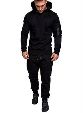 Plain Camouflage Hoodie Pants Mens Outfit