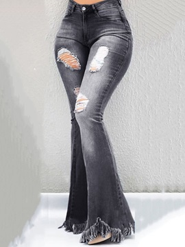 Zipper Bellbottoms Fashion Slim Womens Jeans