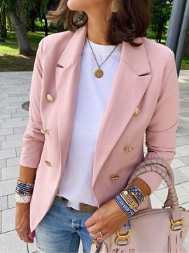 Plain Long Sleeve Notched Lapel Womens Blazer