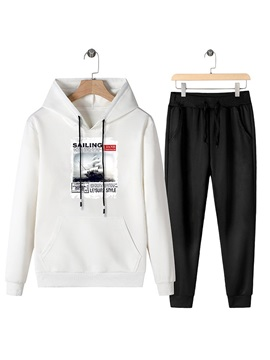 Casual Hoodie Pocket Letter Spring Mens Outfits