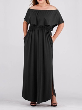Plus Size Shoulder Ankle Lengthwomens Dress