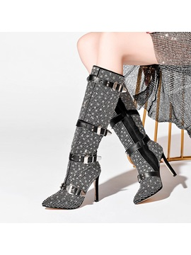 Side Pointed Toe Stiletto Heel Knee Boots