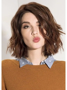 Brown Color Womens Layered Hairstyle Womens Wavy Synthetic Hair Capless Wigs 14inches