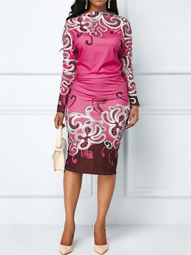 Round Neck Long Sleeve Mid Calf Party Cocktail Spring Womens Dress