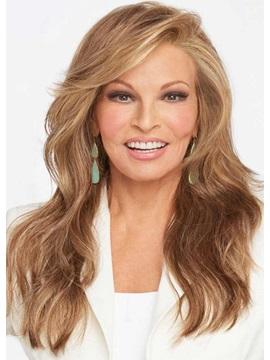Womens Light Brown Color Side Part Hairstyles Long Wavy 100 Human Hair Wigs Lace Front Wigs 24 Inch