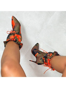 Pointed Toe Color Block Stiletto Heel Ankle Boots