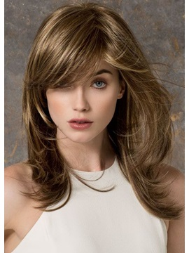 Womens Natural Looking Brown Color Straight 100 Human Hair Wigs Rose Lace Front Cap Wigs 22inch