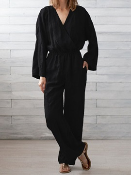 Plain Full Length Casual Straight Loose Womens Jumpsuit
