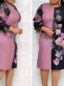Plus Size Round Neck Knee Length Patchwork A Line Pullover Womens Dress
