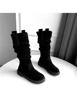 Slip On Block Heel Round Toe Thread Knee Boots