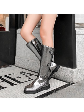 Metallic Side Zipper Round Toe Knee Boots