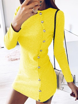 Above Knee Long Sleeve Round Neck Single Breasted Spring Womens Dress