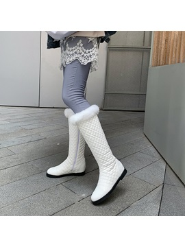 Plain Round Toe Side Knee High Snow Boots