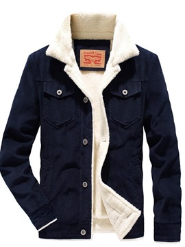 Thick Patchwork Lapel Casual Mens Jacket