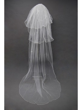 Cathedral Wedding Bridal Veil With Finished Edge