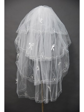 Cute Blusher Wedding Bridal Veil With Floral Motif Edge